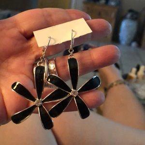Black enamel flower earrings